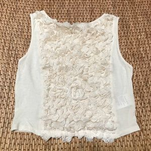 Anthropologie Pins&Needles Ruffle Lace Cream Top